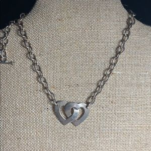 Sterling Double Heart Toggle Necklace